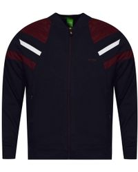 BOSS Athleisure - Navy Zip Up Baseball Collar Style Jacket - Lyst