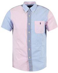 Polo Ralph Lauren - Blue/pink Short Sleeve Shirt - Lyst