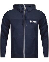 BOSS Athleisure - Boss Casual Navy/white Mesh Panel Hoodie - Lyst
