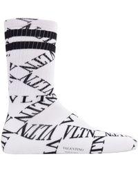 Valentino - Black & White Vltn Grid Tube Socks - Lyst