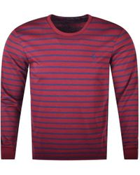 Polo Ralph Lauren - Burgundy Stripe Long Sleeve T-shirt - Lyst