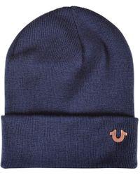 True Religion - Navy/rose Gold Logo Beanie Hat - Lyst