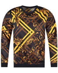 Versace Jeans - Black/gold Multi-print Sweatshirt - Lyst