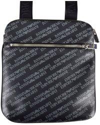 Lyst - Emporio Armani Logo Print Leather Wash Bag in Black for Men e2ec4e2c99ae7