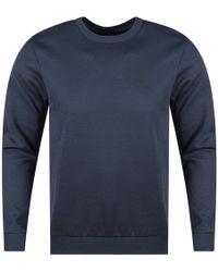BOSS Athleisure - Navy Chest Logo Sweatshirt - Lyst