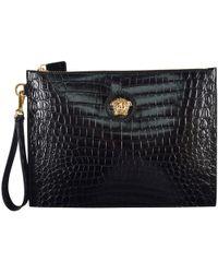 Versace - Large Luxury Medusa Pouch Black/gold - Lyst