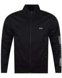 BOSS Athleisure - Black Zip Up Slim Fit Track Top - Lyst