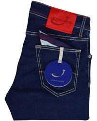 Jacob Cohen - Dark Blue Red Tab Slim Fit Jeans - Lyst