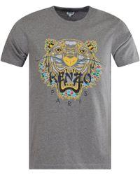 c489a502 KENZO - Dark Grey Dragon Tiger T-shirt - Lyst