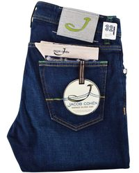 Jacob Cohen - Green Detailed Dark Blue Handmade Tailored Jeans - Lyst