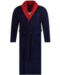 Polo Ralph Lauren - Navy/red Contrast Logo Dressing Gown - Lyst