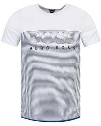 BOSS Green - White Stripe T-shirt - Lyst