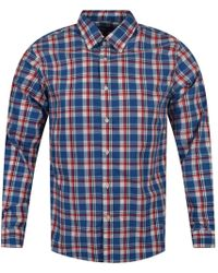 Michael Kors - Blue/red Flame Large Check Shirt - Lyst