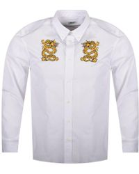 KENZO - White Shirt With Dragons Embroidery - Lyst