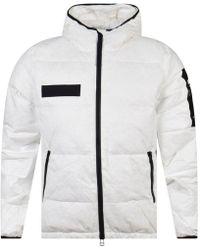 True Religion - Hooded Down Bomber Jacket, White Regular Fit Bomber - Lyst