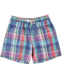 Polo Ralph Lauren - Turquoise Check Swim Shorts - Lyst