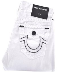 True Religion - Ricky Relaxed Straight White Jeans - Lyst