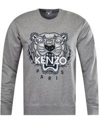 6d8eeb0f KENZO - Grey Embroidered Tiger Sweatshirt - Lyst