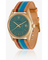 La Californienne - Aqua Le Pliage Rolex Oyster Perpetual Date 14k Solid Gold Watch 34mm - Lyst