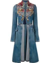 Alexander McQueen - Embellished Denim Coat - Lyst