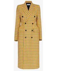 Balenciaga - Check Wool Coat - Lyst
