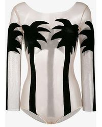 Alexia Hentsch - Silk Palm Tree Bodysuit - Lyst