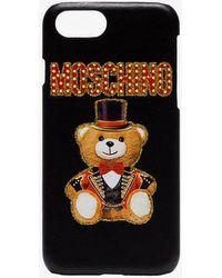 Moschino - Black Bear Logo Leather Iphone 8 Case - Lyst