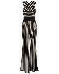 Balmain - Striped Cross Strap Wide Leg Jumpsuit - Lyst