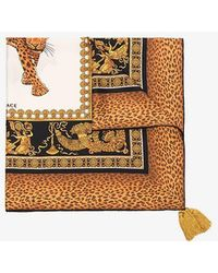 Versace - Brown, Yellow And Black Baroque And Leopard Print Silk Scarf - Lyst