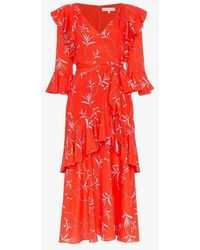 Borgo De Nor - Aiana Ruffle Print Midi Dress - Lyst