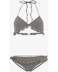 Miu Miu - Triangle Ruffle Detail Gingham Bikini - Lyst