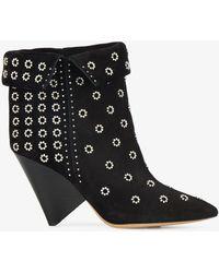 Isabel Marant - Black Eyelet Lakky 90 Suede Boots - Lyst