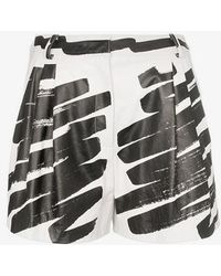Moschino - Paint Print Leather Shorts - Lyst