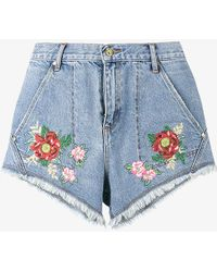 House of Holland - X Lee Flower Embroidered Denim Shorts - Lyst