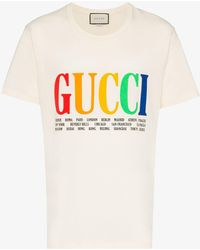 dc986f5c8 Gucci - Mens White Rainbow Cities Print Cotton T Shirt, Size: Xl - Lyst