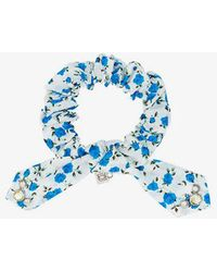 DANNIJO - White And Blue Nina Crystal Floral Print Cotton Bracelet - Lyst