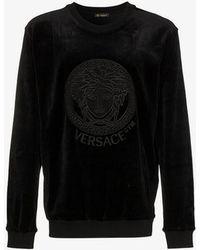 Versace - Embroidered Crew Neck Jumper - Lyst