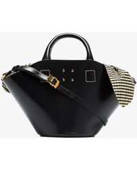 Trademark - Black Small Leather Bag With Gingham Insert - Lyst
