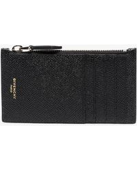 Givenchy - Black Grained Leather Zip Cardholder - Lyst