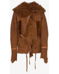 BED j.w. FORD - Shearling Trimmed Suede Leather Jacket - Lyst