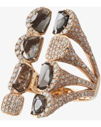 Saqqara - Rose Gold And Sliced Diamond Long Ring - Lyst
