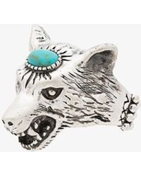 Gucci - Turquoise Anger Forest Wolf Head Sterling Silver Ring - Lyst