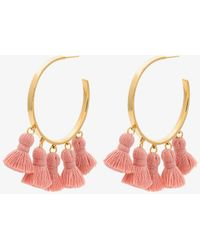 Marte Frisnes - Gold Metallic And Pink Raquel Sterling Silver Tassel Hoop Earrings - Lyst