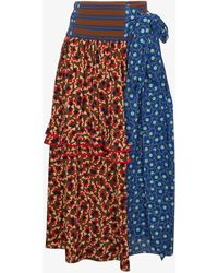 Marni - Wrap Skirt With Ruffles And Contrasting Floral Prints - Lyst