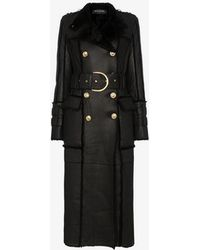 Balmain - Shearling-trimmed Belted Leather Coat - Lyst