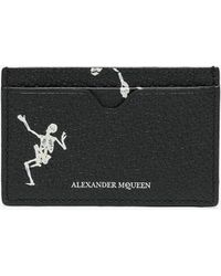 Alexander McQueen - Black And White Skeleton Leather Card Holder - Lyst
