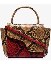 Atp Atelier - Red Montalcino Snake Embossed Leather Cross Body Bag - Lyst