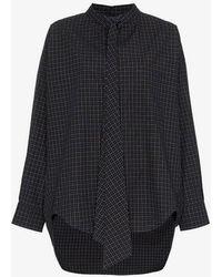 Balenciaga - Check Logo Back Button-down Cotton Shirt - Lyst