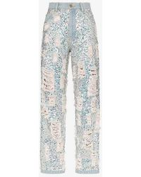 Ashish - Sequin Embellished Ripped Boyfriend Jeans - Lyst