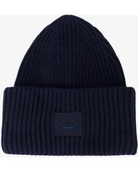 Acne Studios - Navy Blue Pansy Ribbed Beanie - Lyst